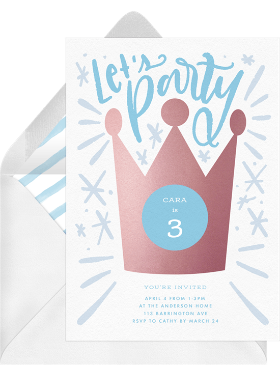 Party Crown Invitations in Blue Greenvelopecom