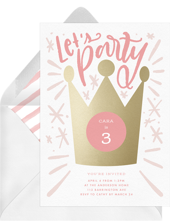 Party Crown Invitations in Pink Greenvelopecom