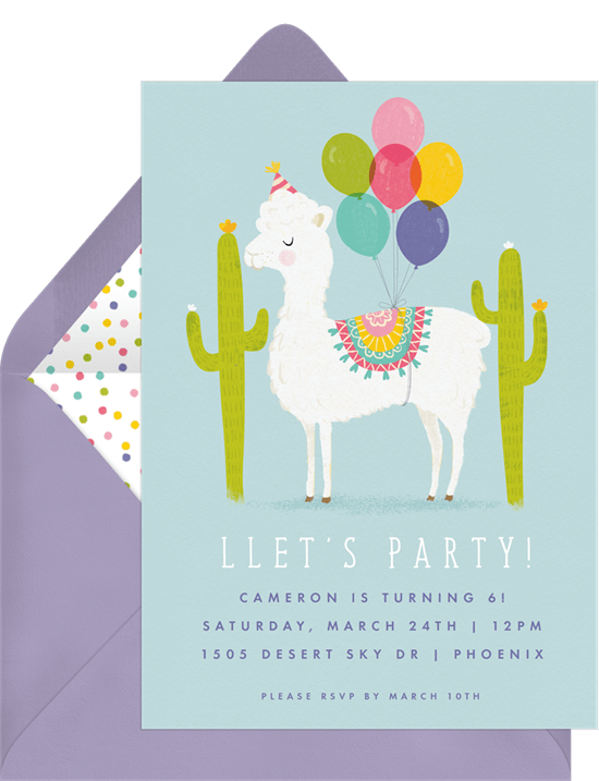 Party Llama Invitations In Blue