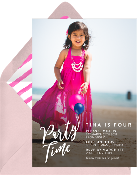 Party Time Balloons Invitations in Pink | Greenvelope.com