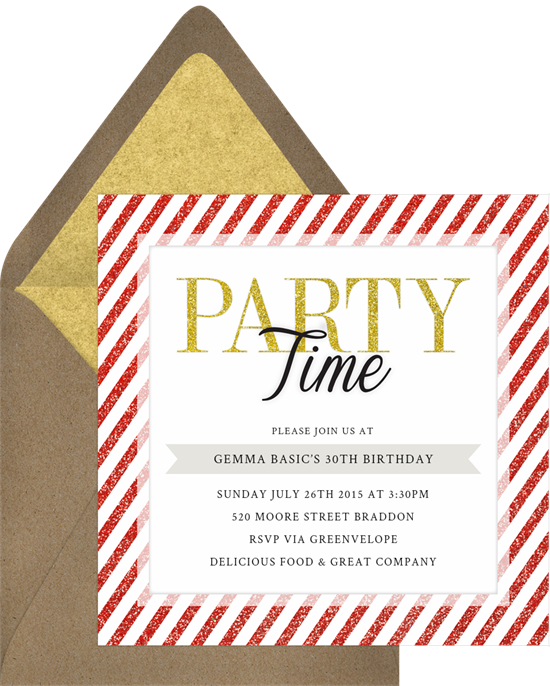 Party Time Invitations in Red | Greenvelope.com