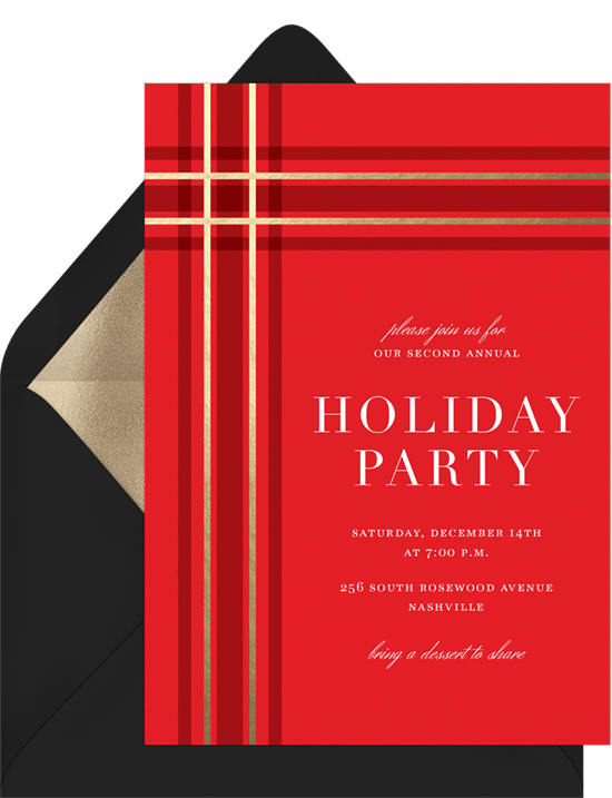 perfect plaid invitations in red greenvelope com
