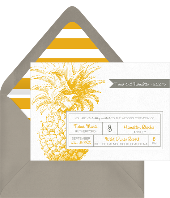 Pineapple Perfection Invitation in Yellow