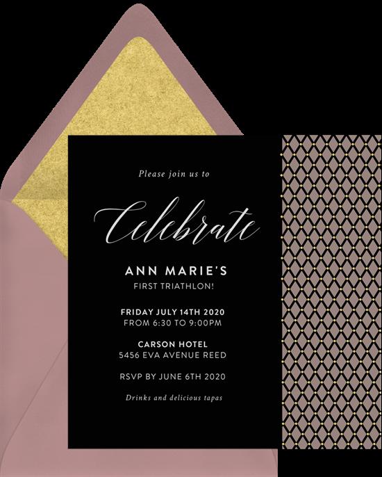 pinned ribbon invitation in black