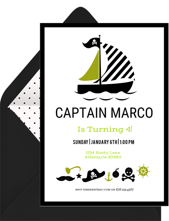 pirate party invitations in green greenvelope com