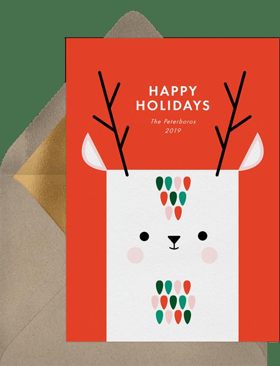 'Playful Deer' Holiday Greetings Card in Red
