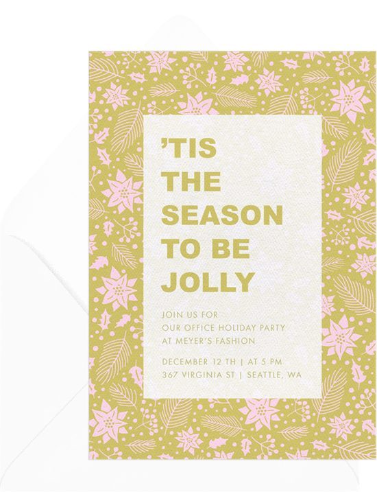 'Poinsettia Pattern' Holiday Party Card in Green