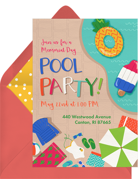 pool party invitations greenvelope com