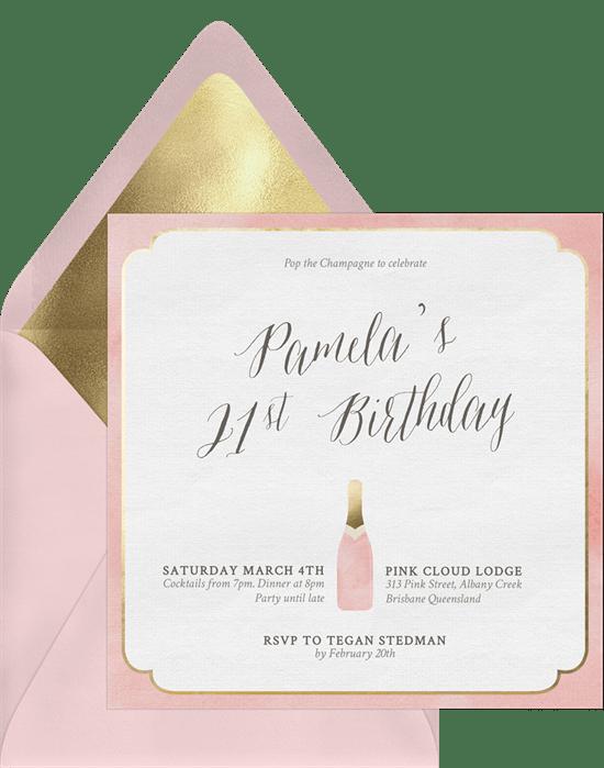 Pop the champagne invitations greenvelope invitation in pink stopboris Choice Image