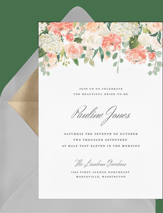 pretty pastel peonies invitations in pink greenvelope com
