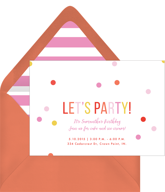 rainbow confetti invitations in pink greenvelope com