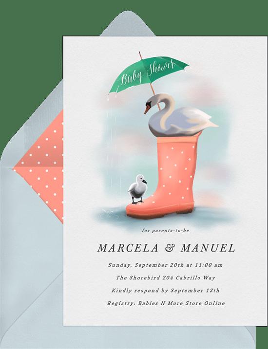 Rainy Day Swan Invitations In Orange Greenvelope Com