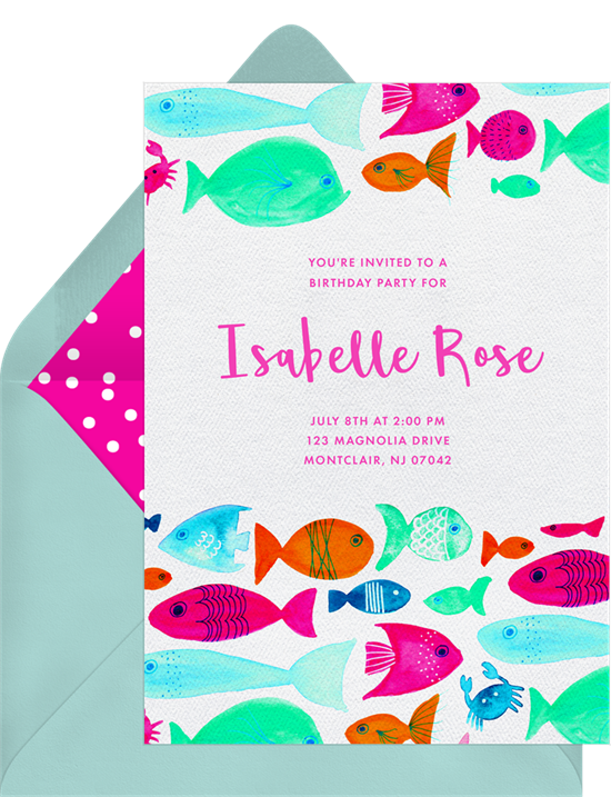 RazzleDazzle Fish Invitations in Green Greenvelopecom