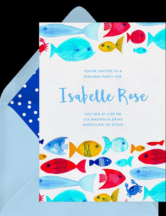 Razzle Dazzle Fish Invitations In Red Greenvelope Com