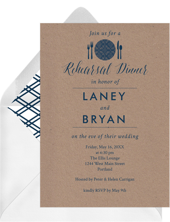 Rehearsal Place Setting Invitations In Blue Greenvelope Com