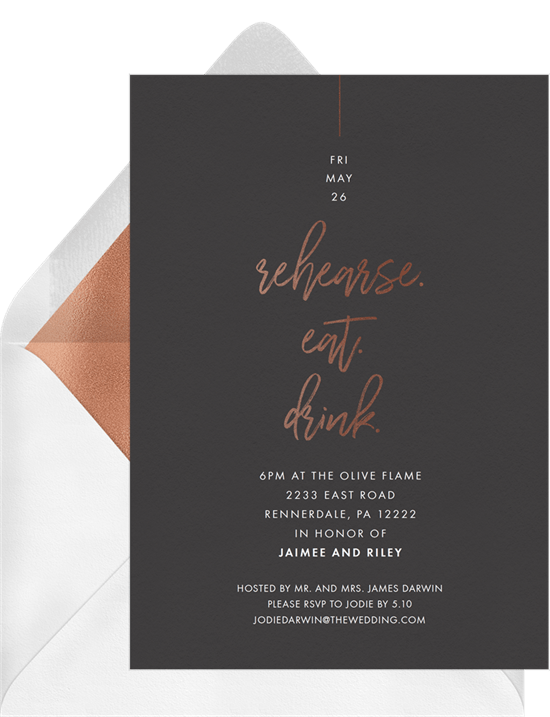 Rehearse Eat Drink Invitations in Black | Greenvelope.com
