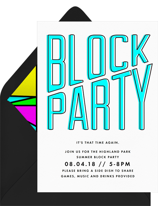 Retro Block Party Invitations in Blue Greenvelopecom