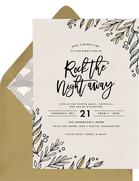 Rock The Night Away Invitations in Creme Greenvelopecom