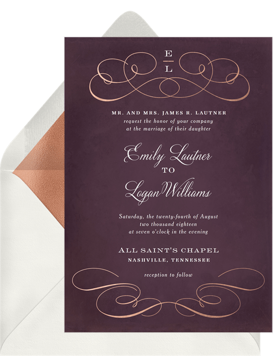 rose gold flourish invitations in purple greenvelope com