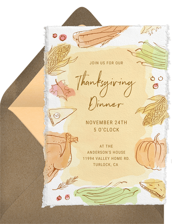 Rustic Dinner Invitation In Yellow