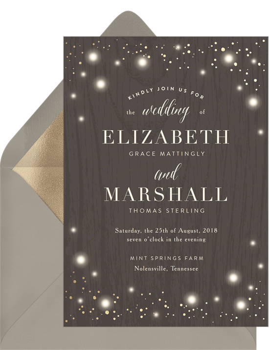 Rustic Twinkle Invitation in Brown