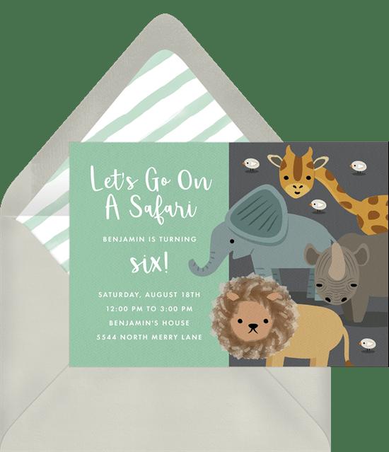 safari party invitations in green greenvelope com