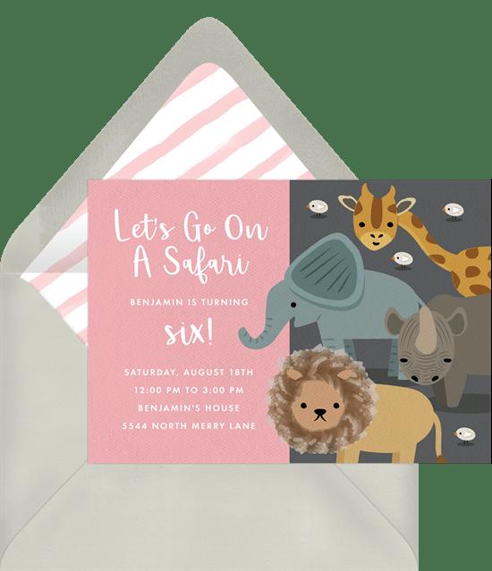 safari party invitations in pink greenvelope com
