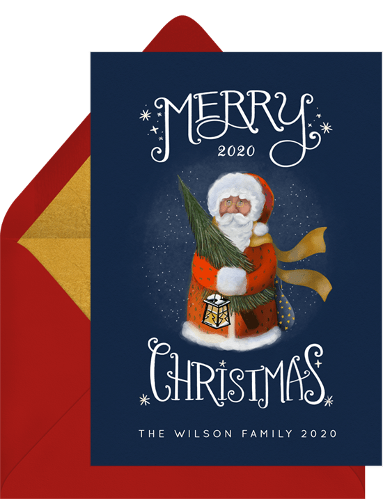 'Santa Claus' Holiday Greetings Card in Blue