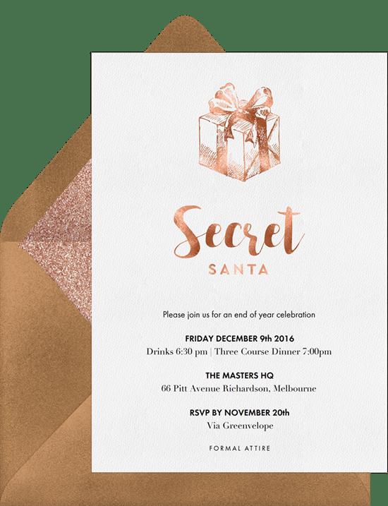 Secret Santa Invitations in Pink Greenvelopecom
