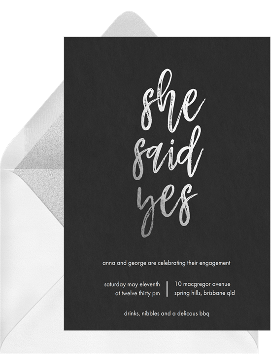 She Said Yes Invitations in Black Greenvelopecom