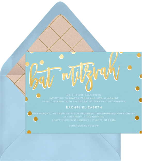 shimmer bat mitzvah invitations in blue greenvelope com