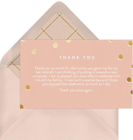 Shimmer Bat Mitzvah Thank You Note