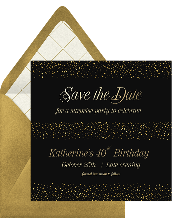 shimmery surprise save the dates greenvelope com