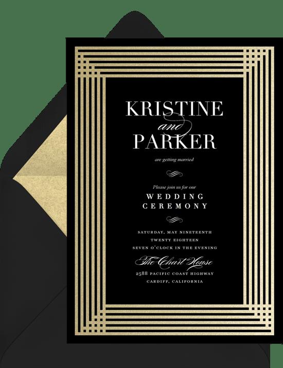 Simple Art Deco Invitations in Black Greenvelopecom