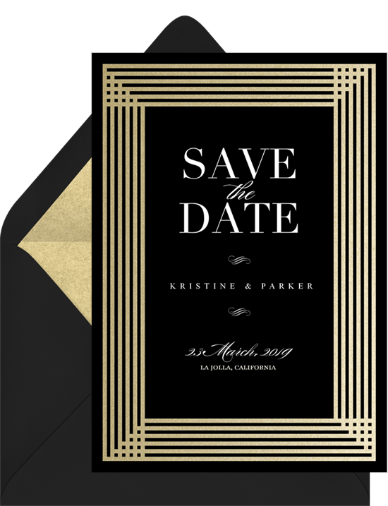 Simple Art Deco Save The Dates In Black Greenvelope Com