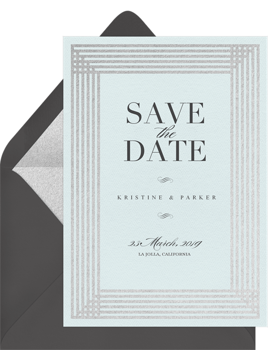 Simple Art Deco Save The Dates In Blue Greenvelope Com
