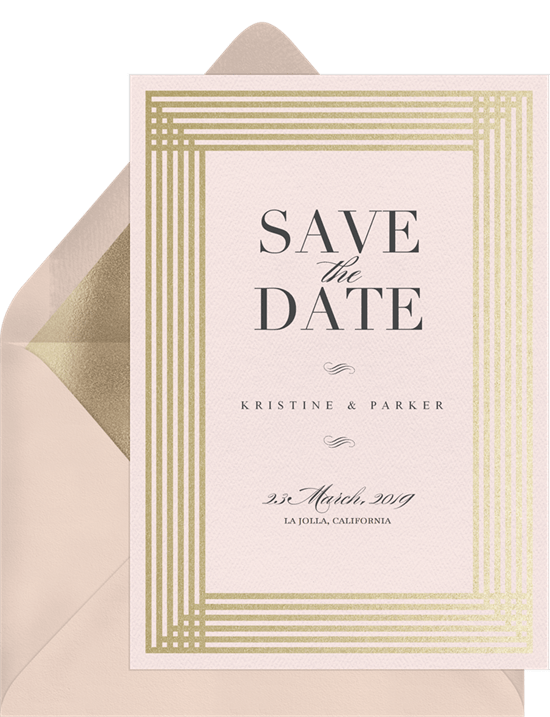 Simple Art Deco Save The Dates In Pink Greenvelope Com