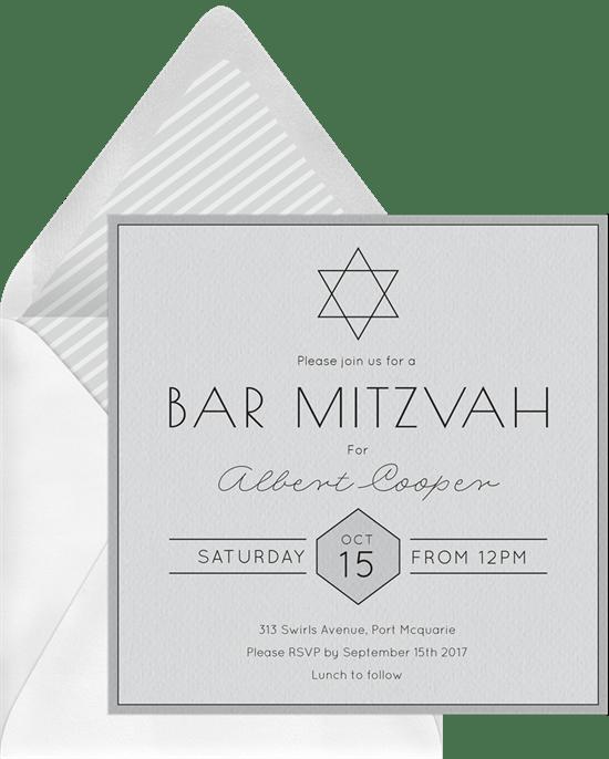 simple bar mitzvah invitations in white greenvelope com