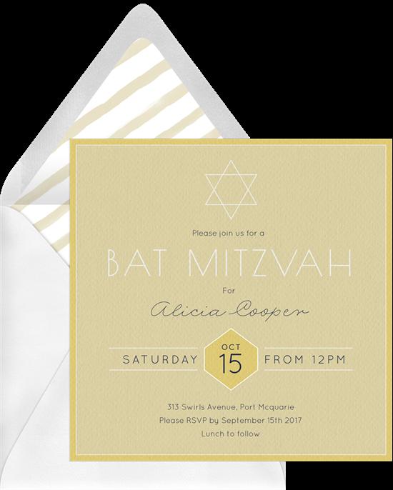simple bat mitzvah invitations in yellow greenvelope com