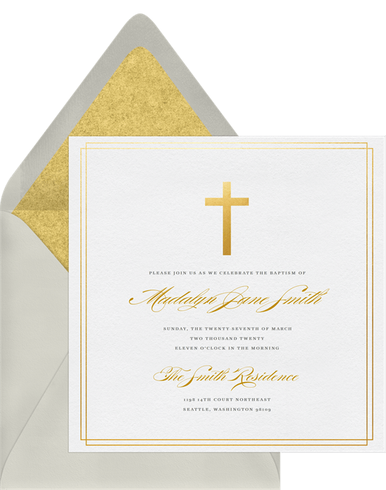 Christening Religious Invitations Simple Cross Baptism Greenvelopecom