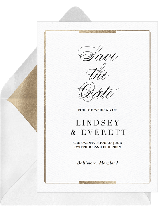 Simple Foil Frame Save The Dates in White   Greenvelope.com