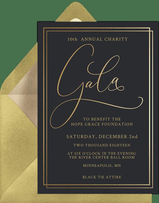 Simple gala invitations in black greenvelope simple gala invitation in black stopboris Image collections
