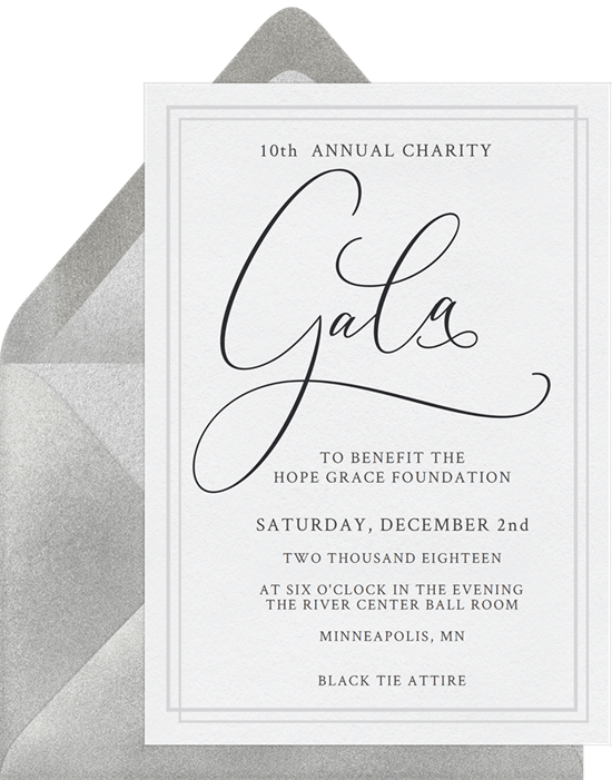 Simple gala invitations greenvelope simple gala invitation in black stopboris Choice Image