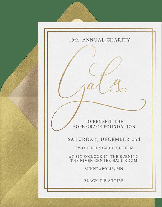Simple gala invitations greenvelope simple gala invitation in white stopboris Images
