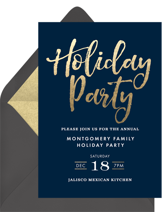 simple holiday party invitation in blue