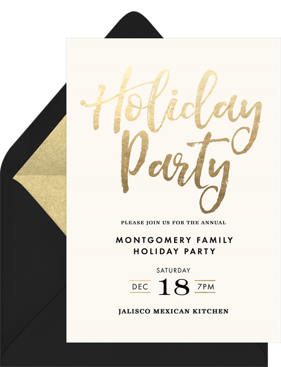 Simple Holiday Party Invitations In Creme Greenvelope Com