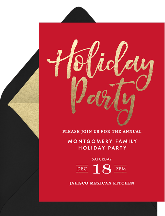 simple holiday party invitations in red greenvelope com