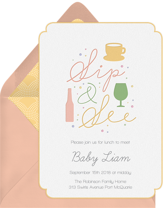 Sip See Letterpress Invitations In Yellow Greenvelope Com