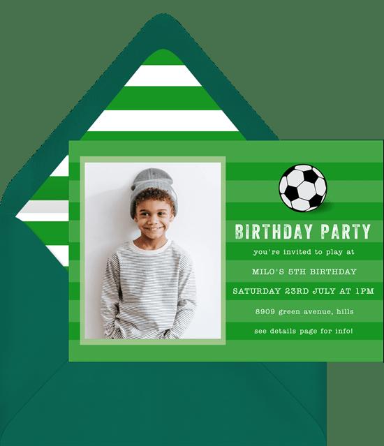 soccer party invitations in green greenvelope com