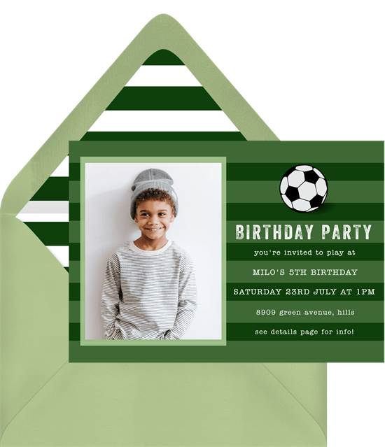 soccer party invitations in green greenvelope com
